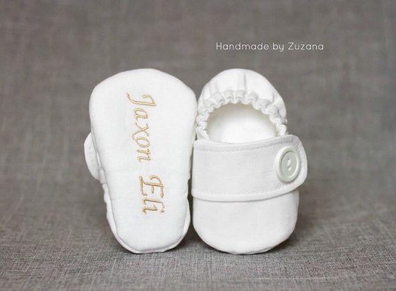 WHITE Christening shoes Personalized baptism by handmadebyzuzana