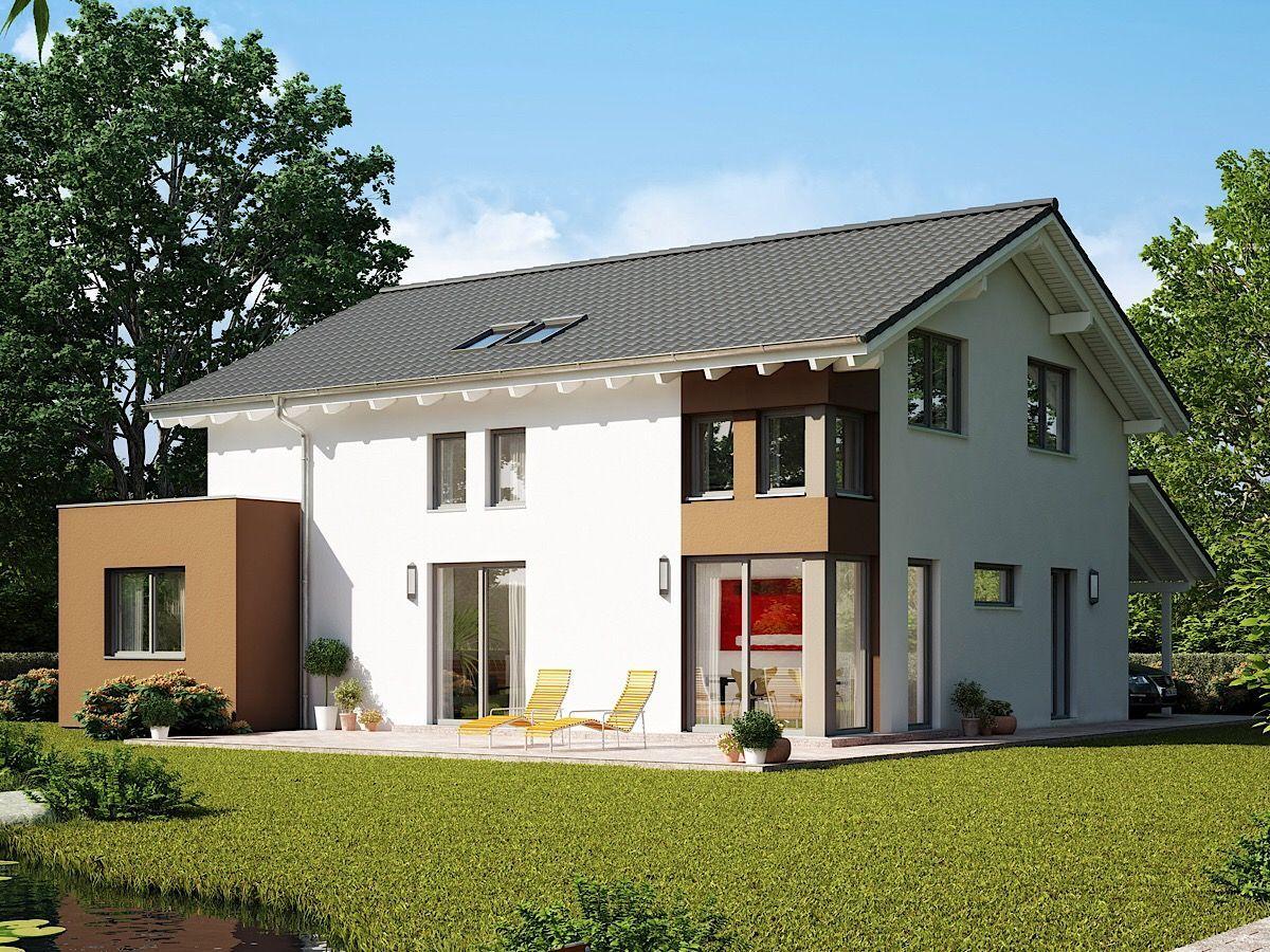 Einfamilienhaus Architektur modern mit flach geneigtem