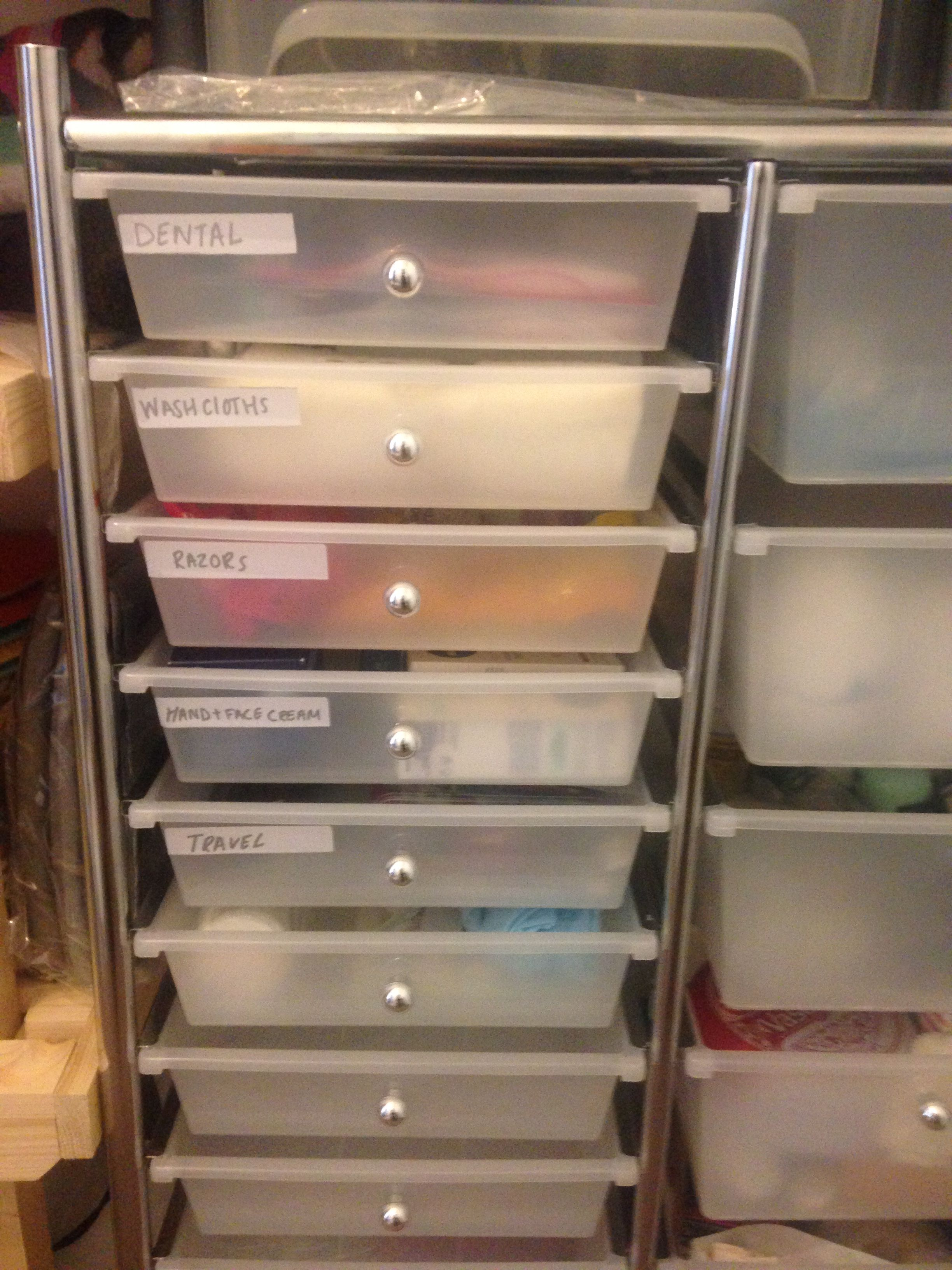 Linen/toiletries closet declutter