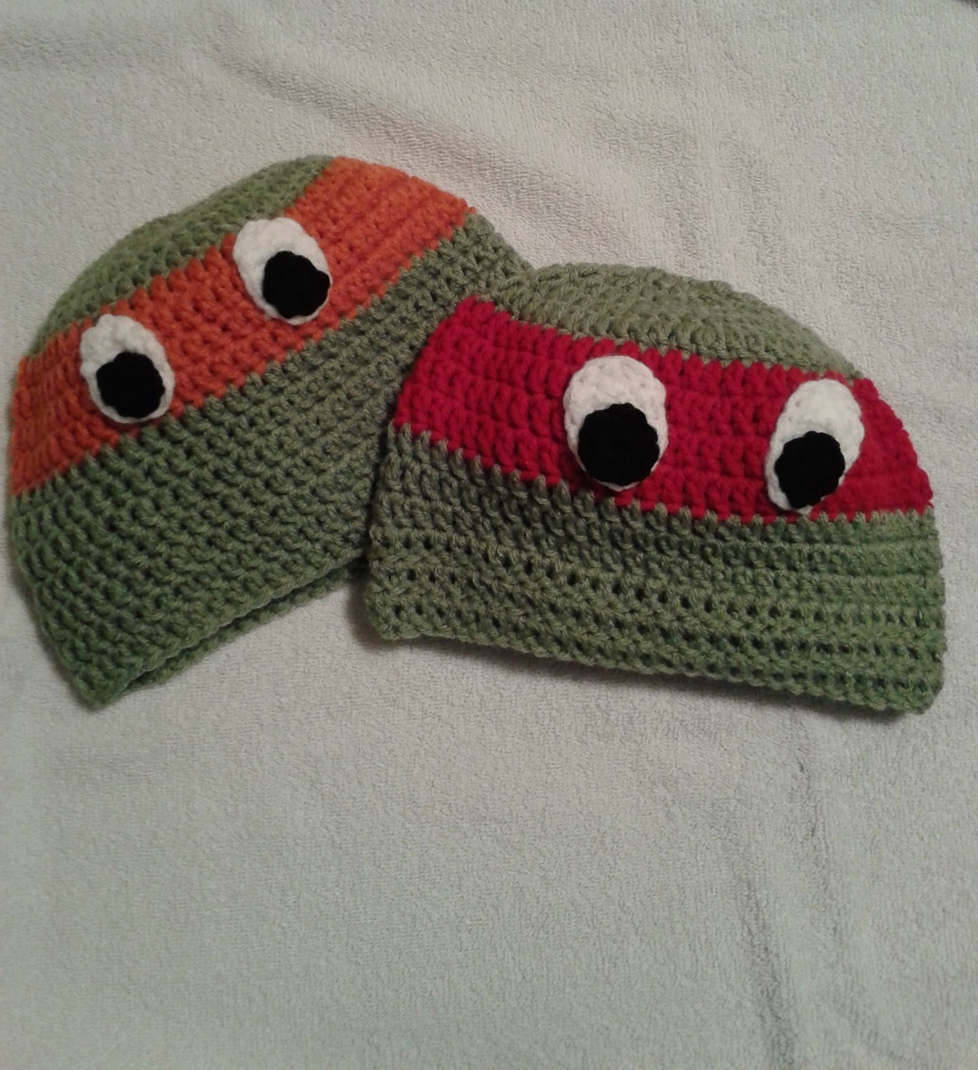 Crocheted infants and childrens ninja turtle beanies in sizes sml