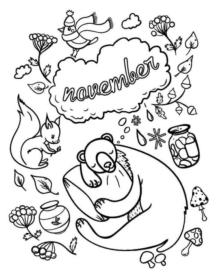 November Coloring Pages Printable | Fall coloring pages ...