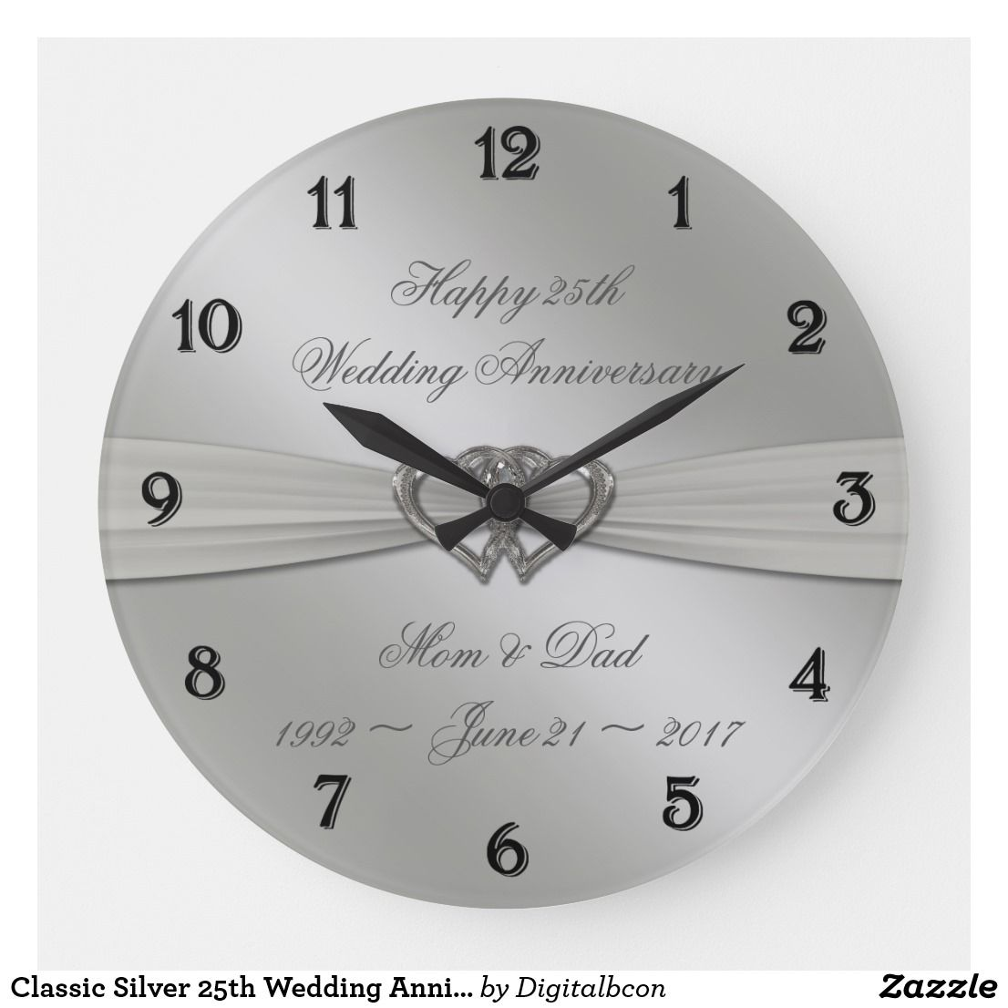 Classic Silver 25th Wedding Anniversary Wall Clock Zazzle Com 25th Wedding Anniversary Silver 25 Wedding Anniversary Gifts 25th Wedding Anniversary