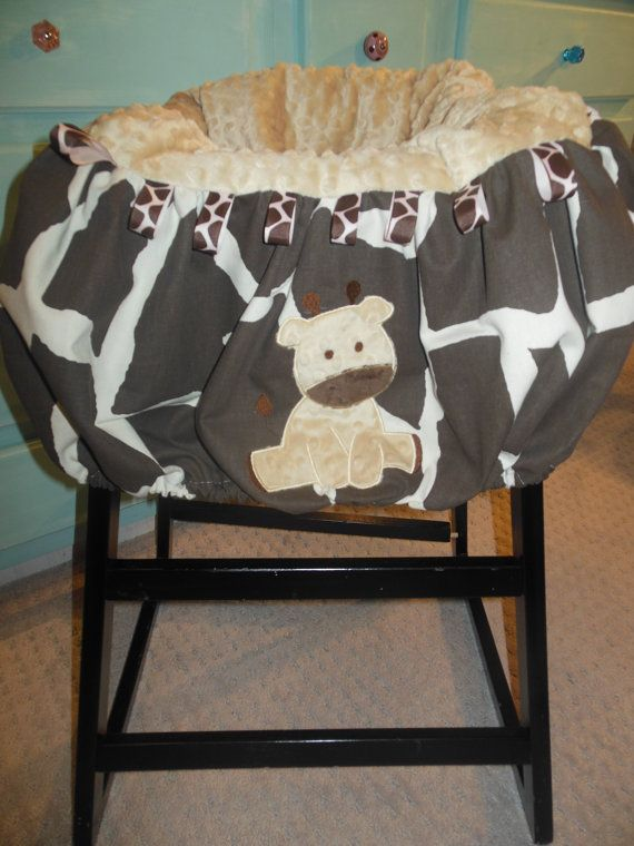Brown Giraffe Shopping Cart or High Chair Cover by TWINSANDQUINN, $55.00