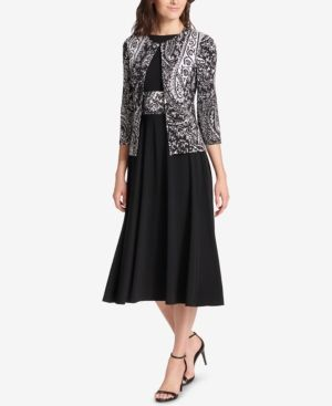 31a693f46f92 Fit & Flare Midi Dress & Printed Jacket | Products | Dresses, Jacket ...