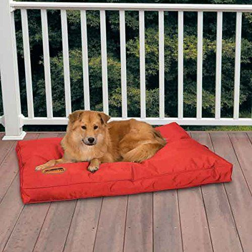 Red Heavy Duty Chew Resistant Indoor Outdoor Dog Bed Tough Soft ...