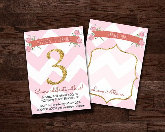 Pink And Gold Flowers Birthday Invitation FREE By PrintablesbyNat