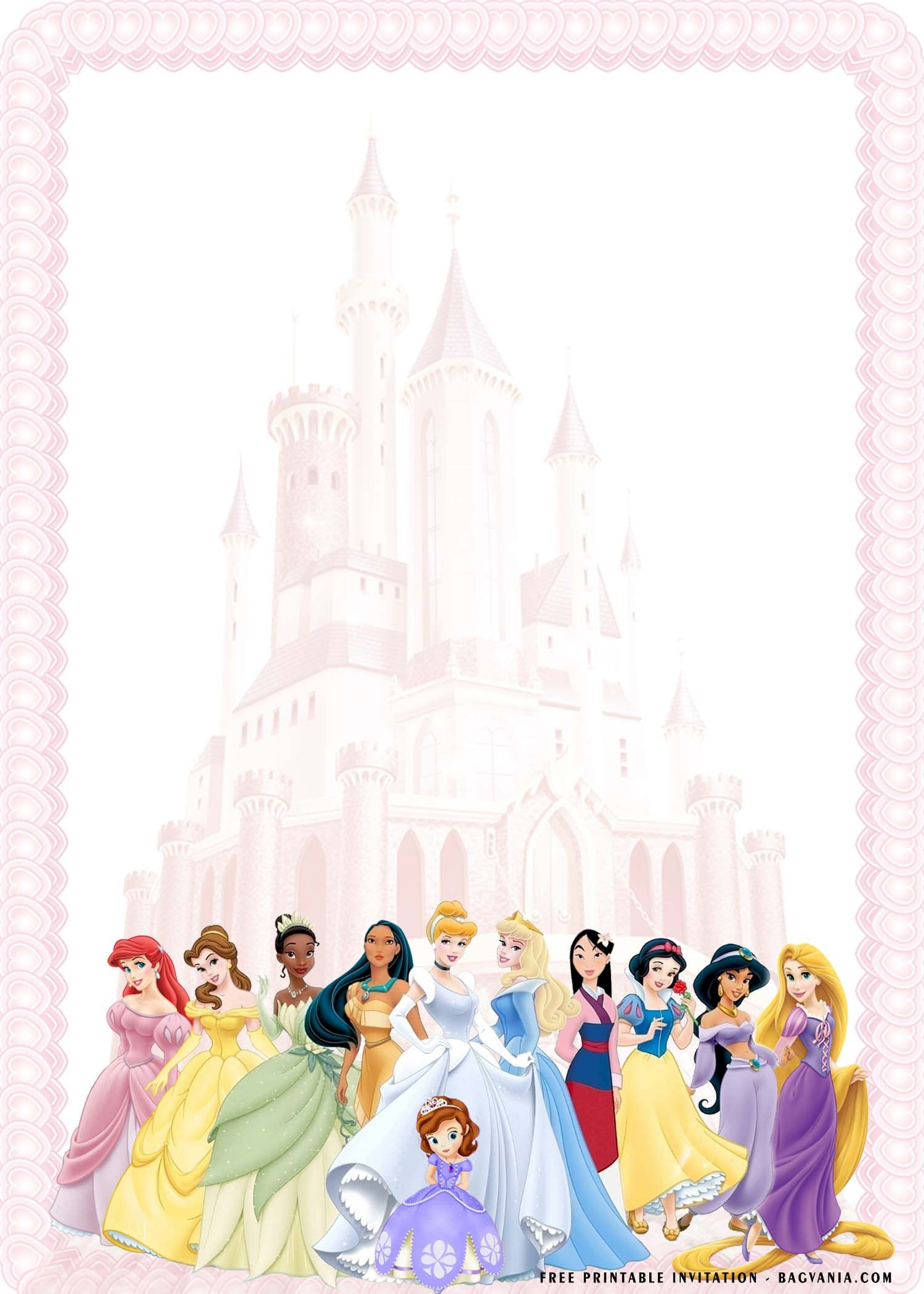 Cool Free Template Free Printable Ornate Disney Princesses Invitation Disney Princess Invitations Disney Princess Birthday Party Princess Invitations