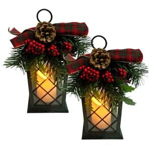 Home Accents Holiday 5.5 in. sq. x 11 in. H Plastic Lantern with Red Bow and 3…
