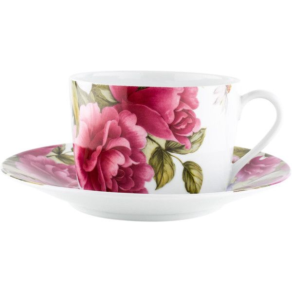 Pre-owned Limoges Bill Goldsmith Floral Cups & Saucers ($45) ❤ liked on Polyvore featuring home, kitchen & dining, drinkware, pink, limoges tea cup, pink teacup, pink tea cup, floral tea cups and limoges cup and saucer