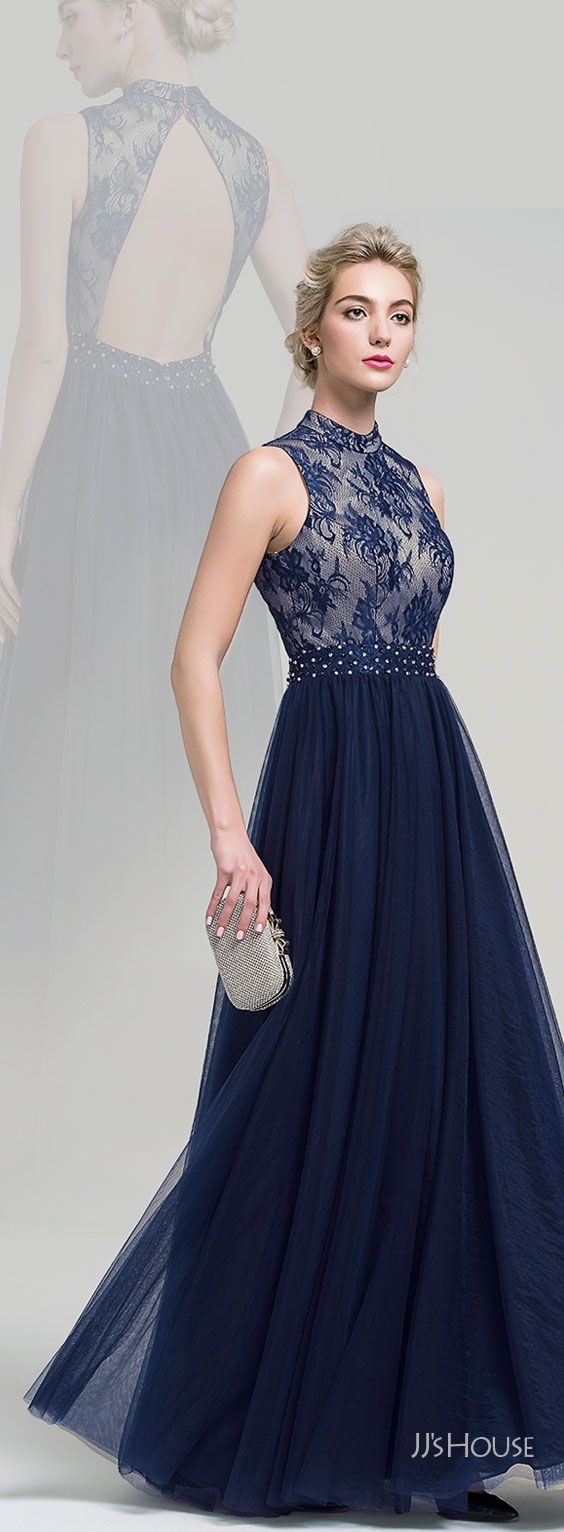 A-Line/Princess High Neck Floor-Length Tulle Evening Dress With ...