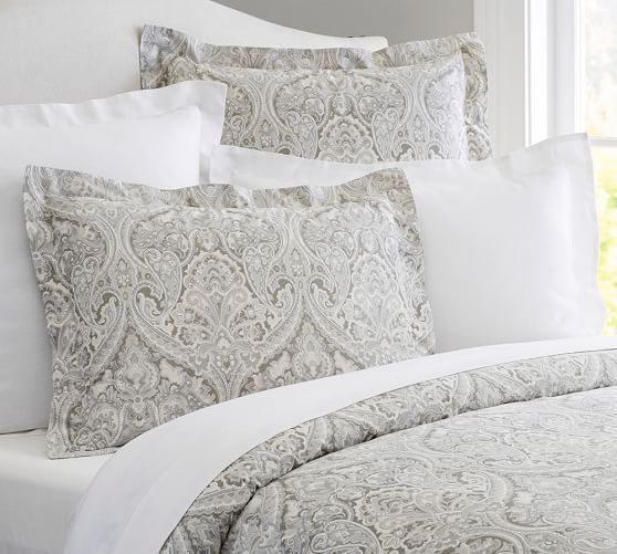 Samantha Damask Sateen Duvet Cover Farmhouse Bedding Sets Duvet