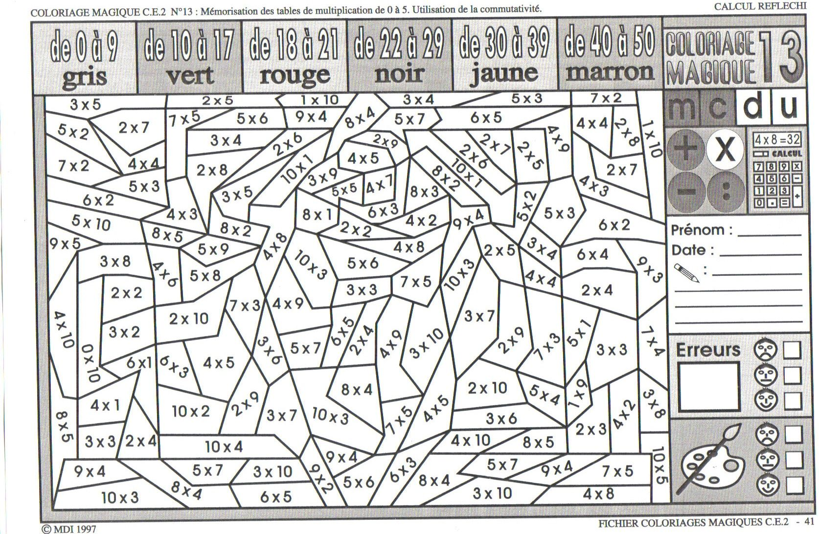 Coloriage Magique Cm1 Multiplication A Imprimer Gratuit L