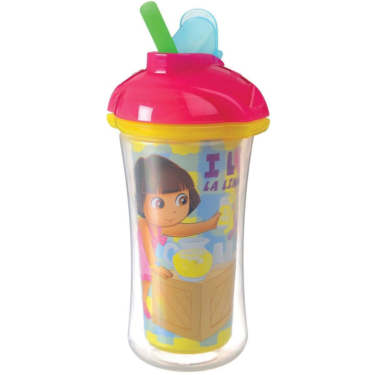 Munchkin Dora The Explorer Click Lock Insulated Straw Cup 9 Ounce In Hot Pink Cap Insulated Straw Cup Cup With Straw Cup