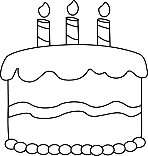 Clip Art Black And White Small Black And White Birthday Cake Clip