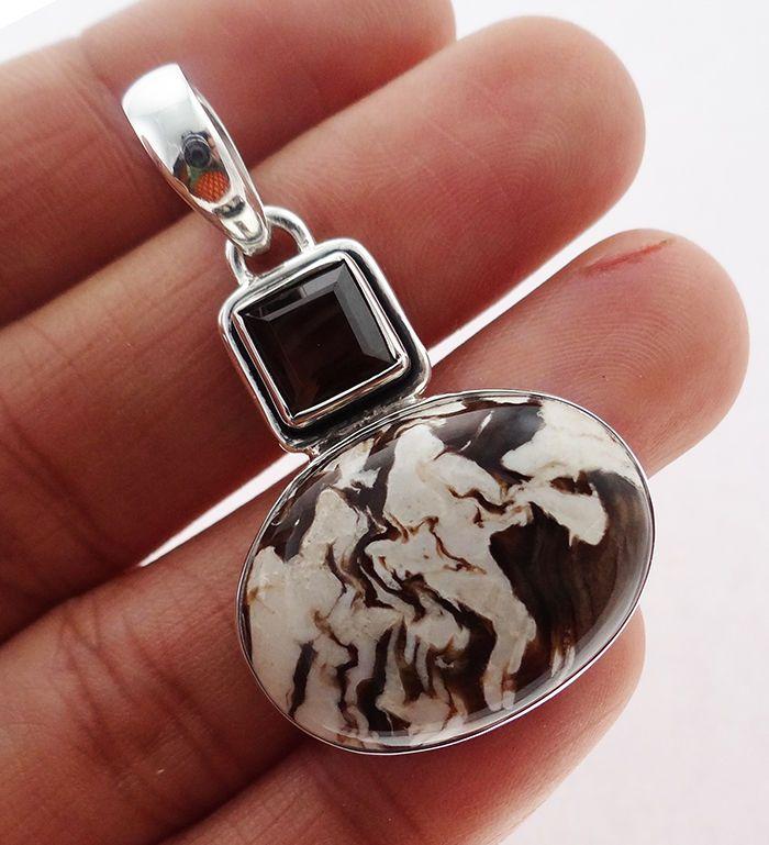 Peanut Wood  Jasper 925 Solid Sterling silver Pendant Jewelry (PNW-8) #Rananjay #HandmadePendant