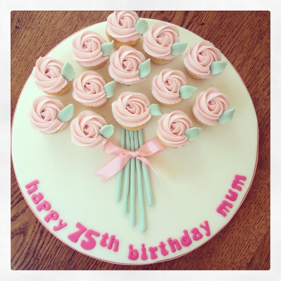 A bouquet of vanilla rose mini cupcakes for a 75th
