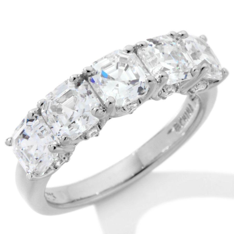 hsn wedding rings Jean Dousset 3 65ct Absolute Asscher Cut 5 Stone Ring at HSN