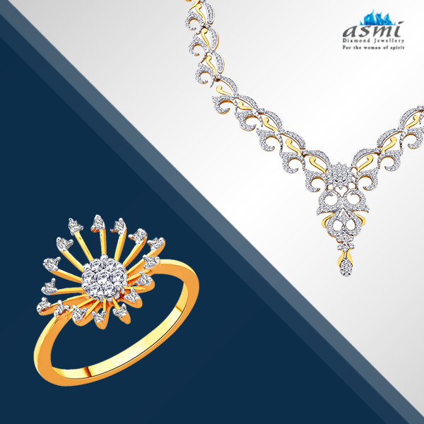 Create a combination of glitter with this Asmi diamond ring and necklace to complete your ethnic ensemble.