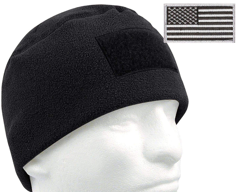 4506cea834e G.I. Type Tactical Polar Fleece Watch Cap and Patch Bundle - Black -  CA11P3CQW5J - Hats   Caps
