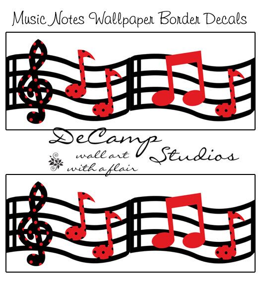 Red And Black Music Musical Notes Wallpaper Wall Art Border Decals For Modern Home Room Sticker Decor Decampstudios