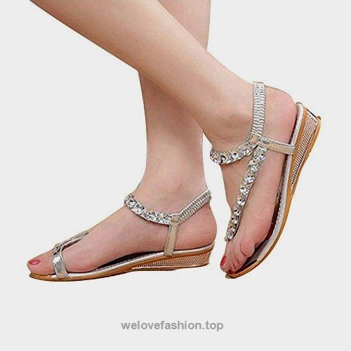 6b349268b00b Fheaven Woman Summer Sandals Rhinestone Flats Platform Wedges Shoes Flip  Flops (US 8