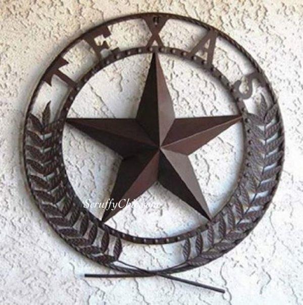 Awesome Big Texas Star Metal Wall Plaque Chocolate Finish Metal