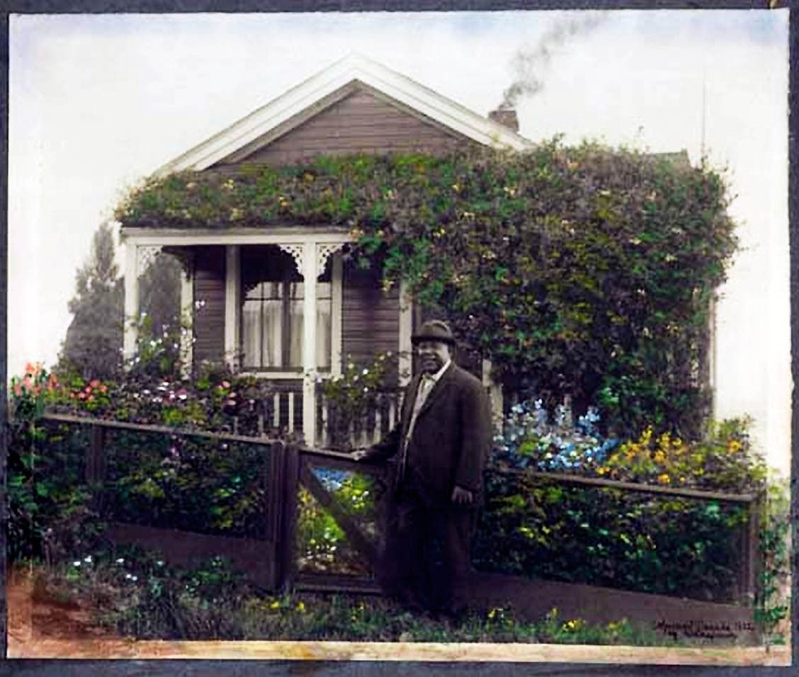 "Seraphim ""Joe"" Fortes outside his English Bay cottage, 191"