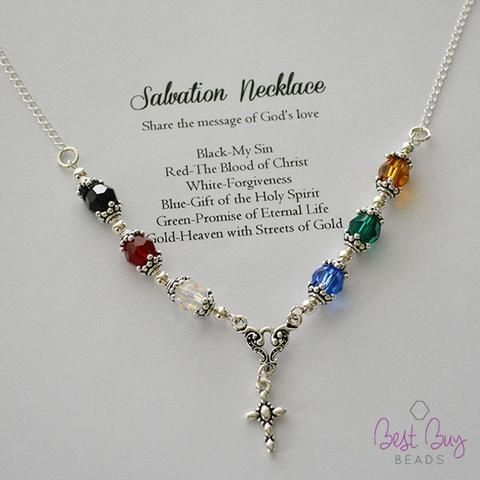 Salvation Necklace Kit (1 kit per package) is part of Beaded jewelry, Salvation bracelet, Diy jewelry, Bracelet kits, Jewelry kits, Homemade jewelry - Share the message of God's love! This jewelry kit comes with all the materials needed to complete 1 necklace  Beads, wire, findings, charm, pictures and instructions included  Crimping tool required (item 0620regcrp) sold separately  Looking forthe individual itemsto makethis design  Click Here