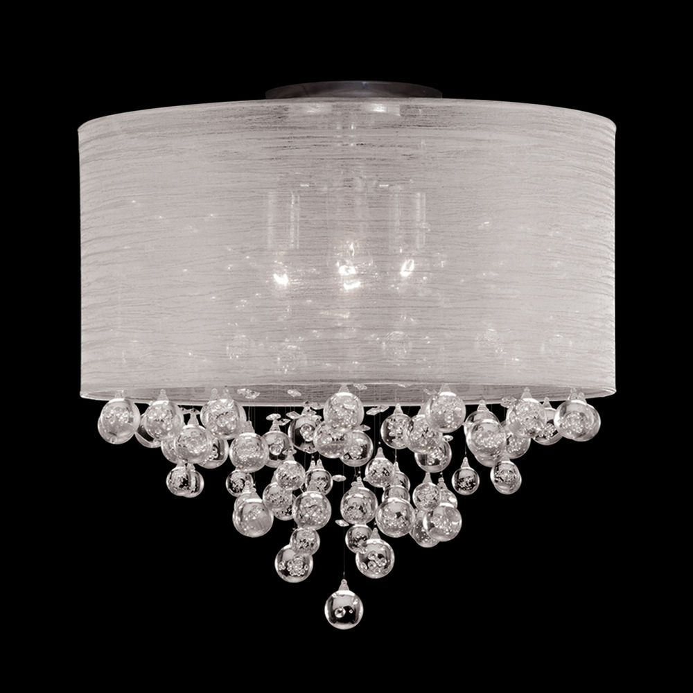 New 4 lamp drum shade flush mount crystal tear bubble ball ceiling light dia 20 contemporary