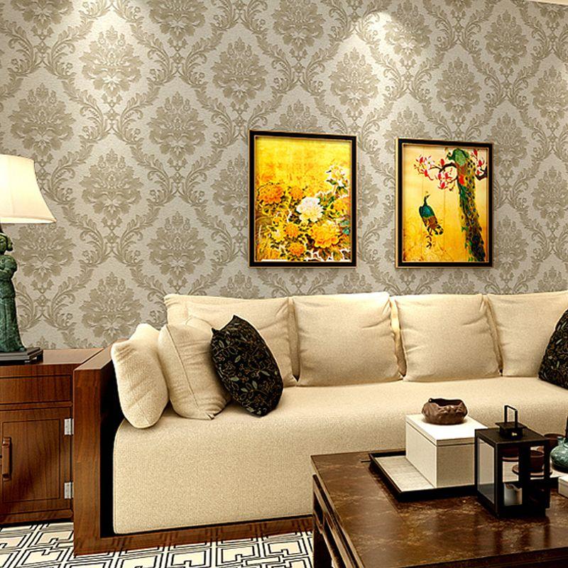 10M PVC Wallpaper Embossed Vintage Romantic European Glossy Stylish ...