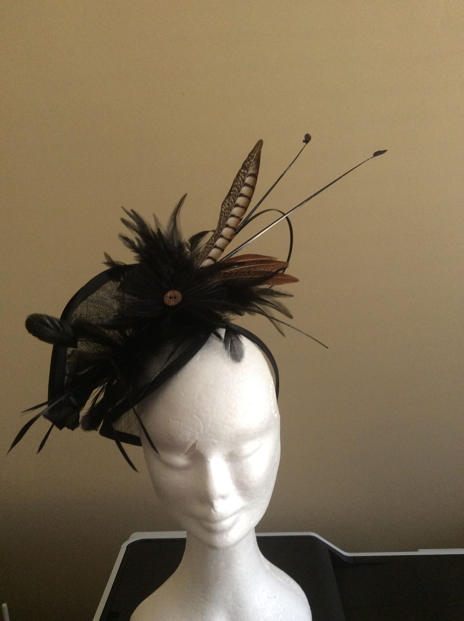 Black Sinamay Fascinator With Pheasant And Goose Feather Details Fascinator Goose Feathers Handmade Hat