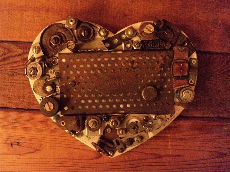 Junk LOVE HEART  hand-made steampunk style art by Love & Rust