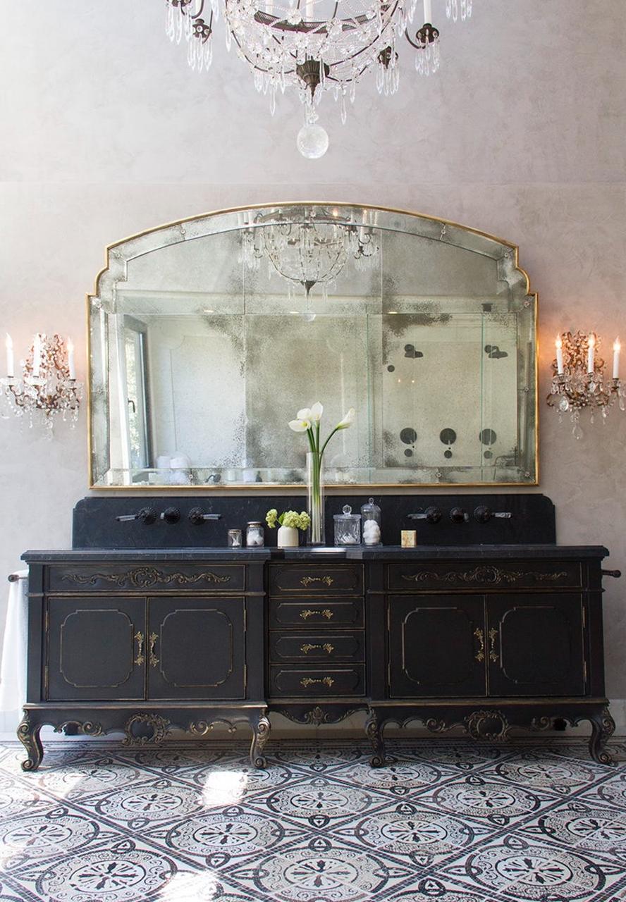 Old World Bathroom European Bath Vanity Antique Mirror Cement Tile Flooring Chandelier In Bathroom Beautiful Bathrooms Shabby Chic Dresser Bathroom Design