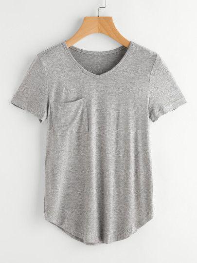 2262afa6cf Shop Curved Hem Marled T-shirt online. SheIn offers Curved Hem Marled T- shirt & more to fit your fashionable needs.