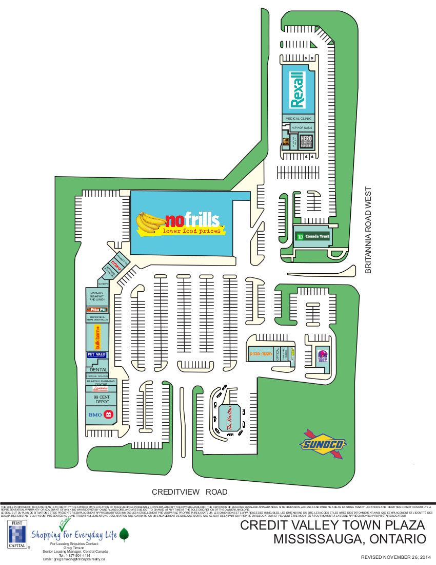 Credit Valley Town Plaza shopping plan Ontario city