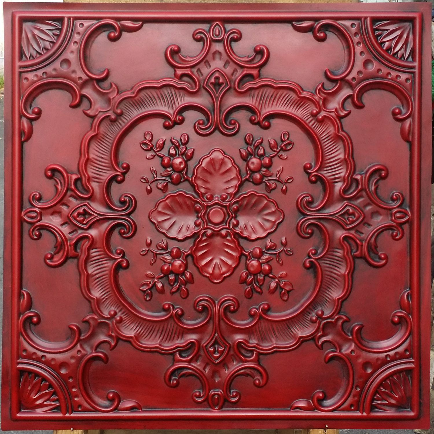 Pl19 faux tin finishes artistic style antique red ceiling tiles 3d pl19 faux tin finishes artistic style antique red ceiling tiles 3d embossed photography background panels boards dailygadgetfo Image collections