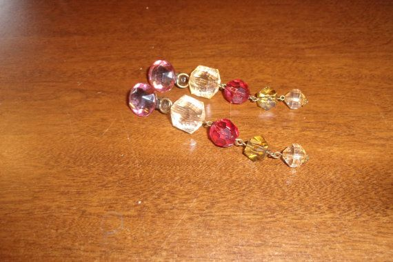 vintage clip on earrings lucite beads dangles by robinsvintage