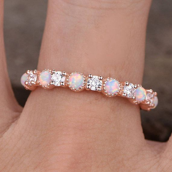 Opal Wedding RingOpal ringOpal Wedding BandRose Gold PlatedSterling SilverCZ Diamond Enternity bandVintage Opal Diamond Ring  This is a beautiful Opal cubic zircon ring i...
