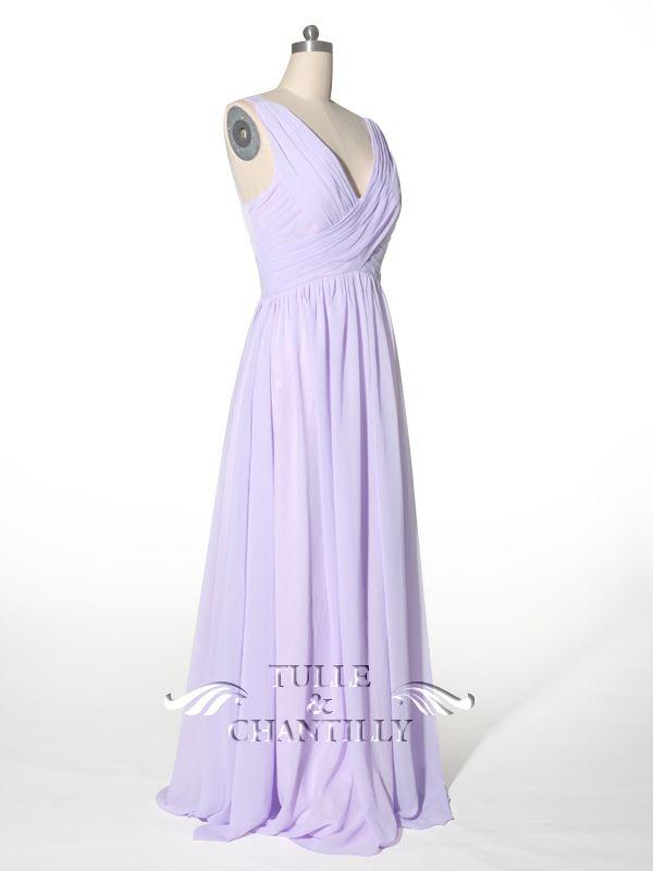 60ba6464afb Flowy Simple Pleated V-neck Light Purple Bridesmaid Dress 2