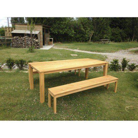 Salon de jardin Set ferme bois chêne vieilli 1 table + 2 bancs ...