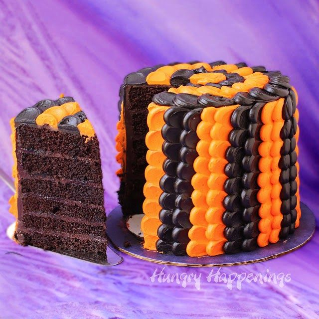 Black and Orange Halloween Petal Cake Petal cake, Happenings and Cake - halloween cake decorating pictures