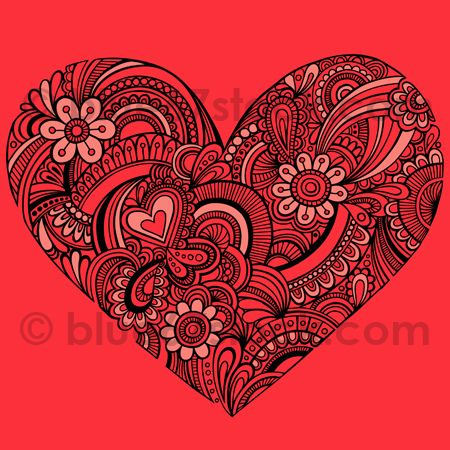 Hand Drawn Henna Paisley Heart Tattoo Doodle Seamless Repeat Pattern Vector By Blue67 Blue67design