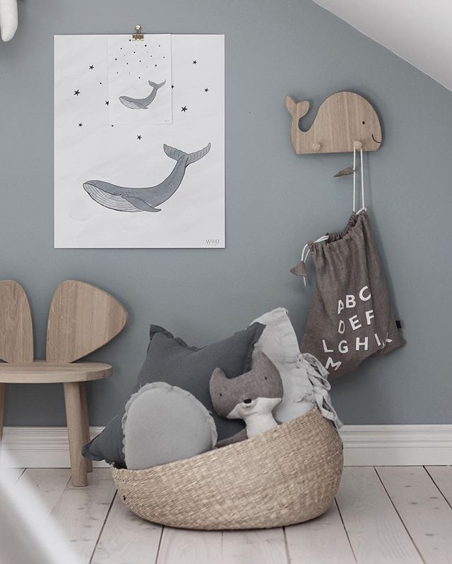 Lovely grey whale theme. Lots of natural materials, Maileg stuffed animal and Ouef NY chair.