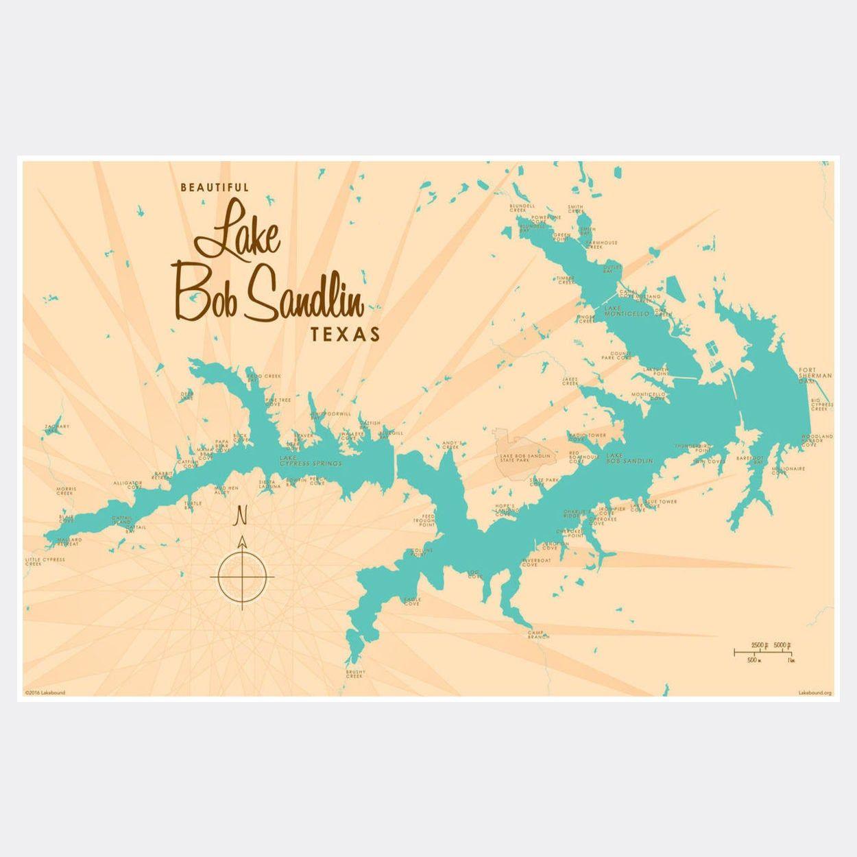 lake bob sandlin map Lake Bob Sandlin Texas Paper Print Map Art Map Art Map Art lake bob sandlin map