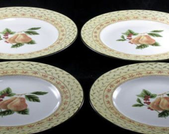 Earthenware Fruit S&ler Pattern Johnson Brothers Dinner Plates Pears Center Of Plates Cream & Earthenware Fruit Sampler Pattern Johnson Brothers Dinner Plates ...