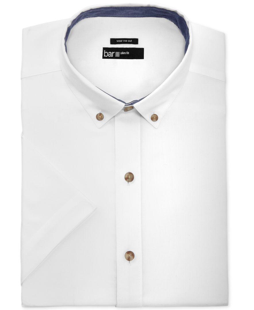 Bar Iii Men's Slim-Fit White Oxford Short-Sleeve Dress Shirt, Only ...