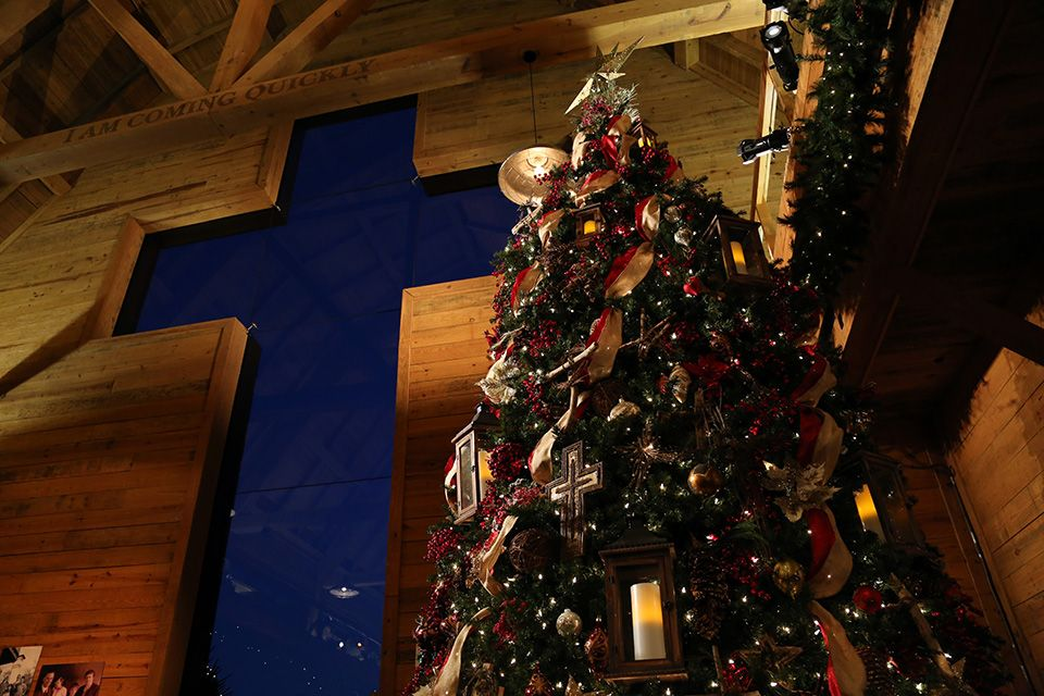 2014 Christmas at the Library - a 20 foot Christmas tree adorns the lobby of the Billy Graham Library