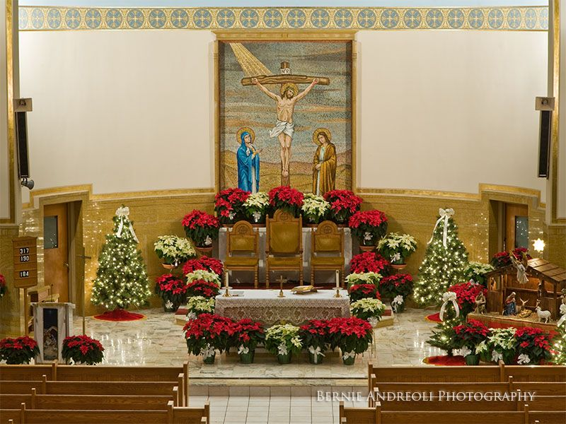 Decorating Church With Poinsettias