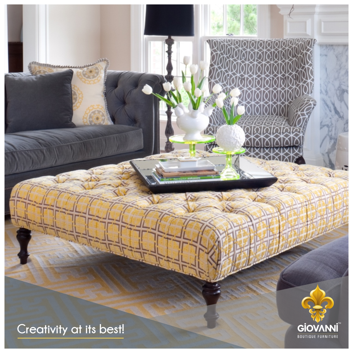 Featuring check patterned design and fine detailing of button tufting, this coffee table can be an elegant addition to your home decor. Visit www.giovanniboutique.com and get custom crafted furniture at your doorstep! #BoutiqueFurniture #CustomCrafted #HomeDecor #Furniture #ModernHome #CoffeeTable