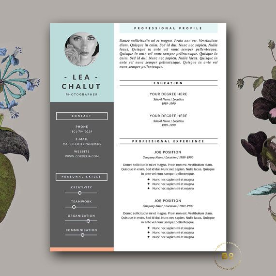Resume Template Creative Resume Design от BotanicaPaperieShop - interior design resume template